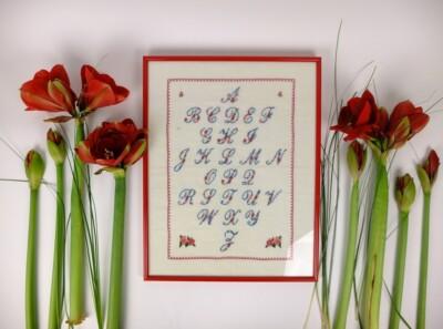 Geborduurd alfabet met amaryllissen