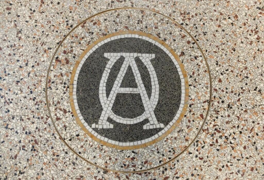 Mozaiek Alfa en Omega in Rijksmuseum