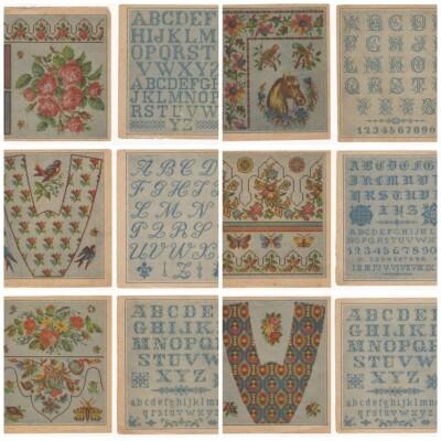 Oude borduurpatronen met alfabetten