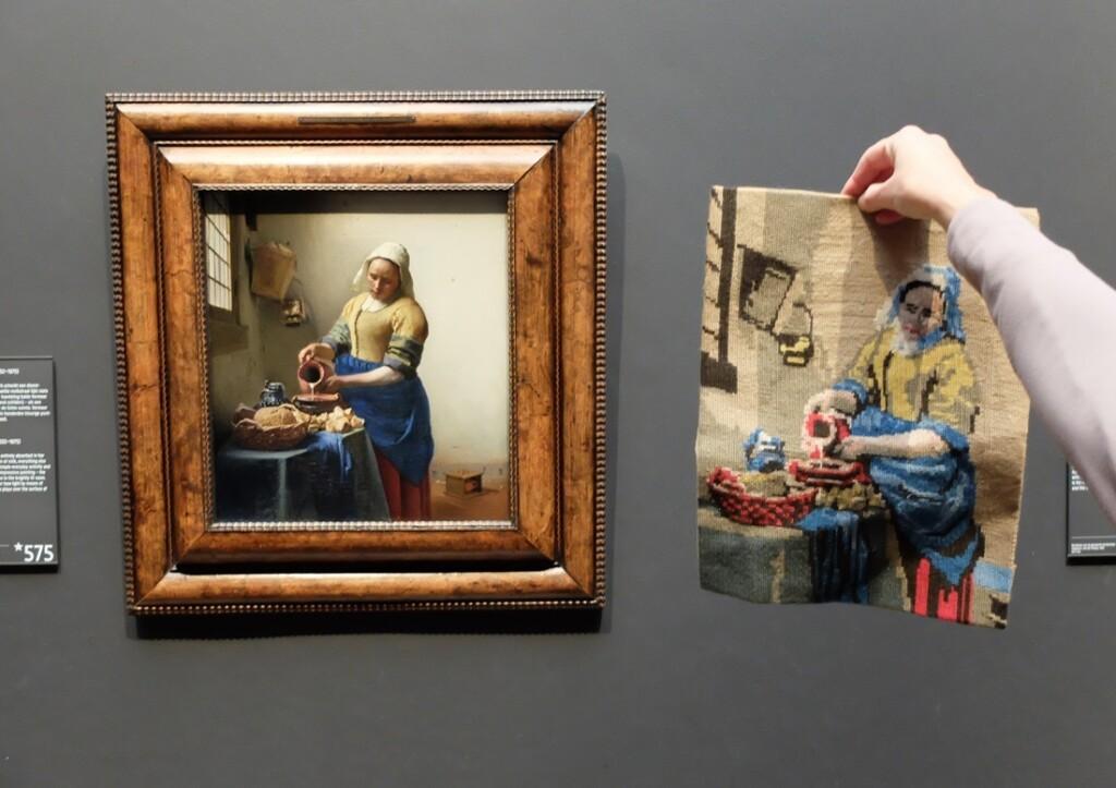 Melkmeisje, Vermeer, Melkmeid, borduurwerk