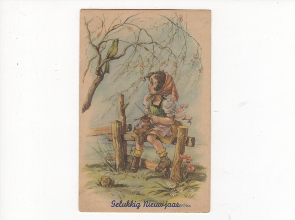 Oude ansichtkaart Gelukkig Nieuwjaar