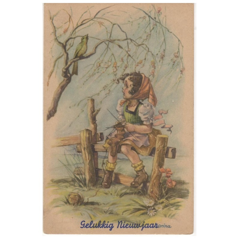 Oude ansichtkaart Gelukkig Nieuwjaar (breien)