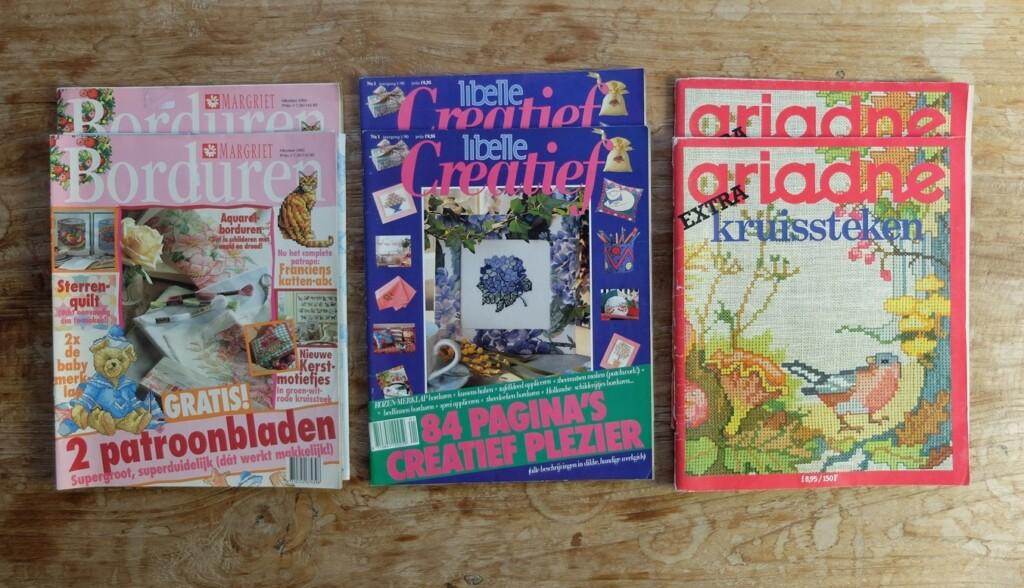 Oude thema-tijdschriften borduren