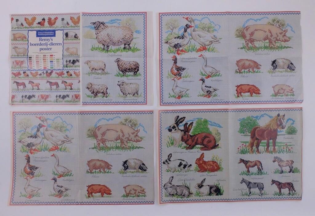 Remy's Borduurposter met boerderijdieren