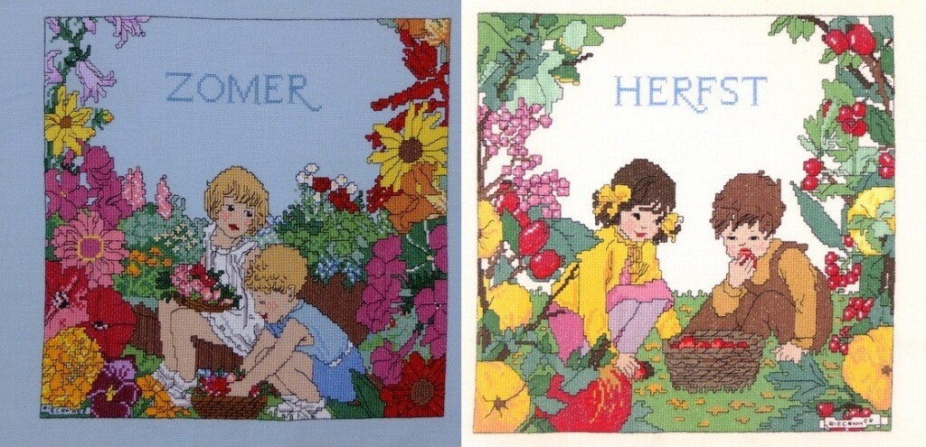 twee borduurwerken zomer en herfst