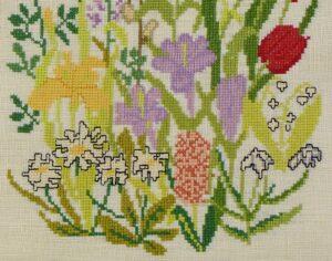 detail geborduurde voorjaarsbloemen