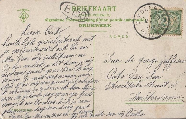 Achterkant oude ansichtkaart Volendam