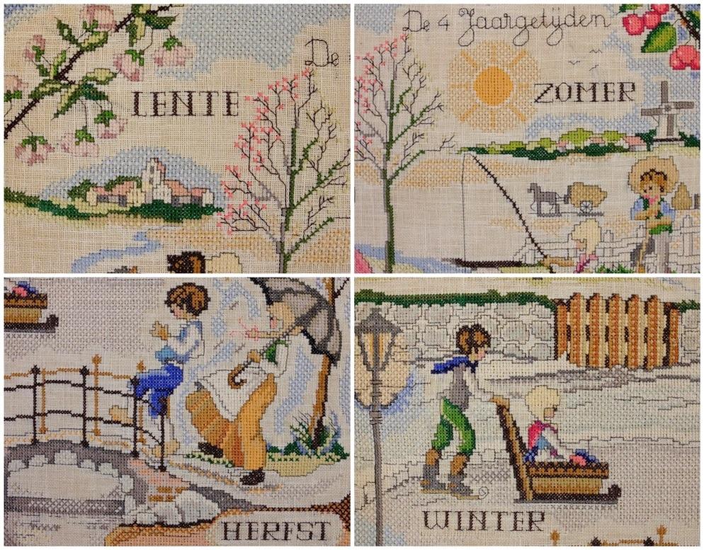 Collage De Vier Jaargetijden borduurwerk Rie Cramer