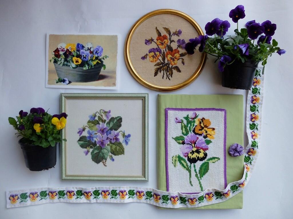 Geborduurde viooltjes