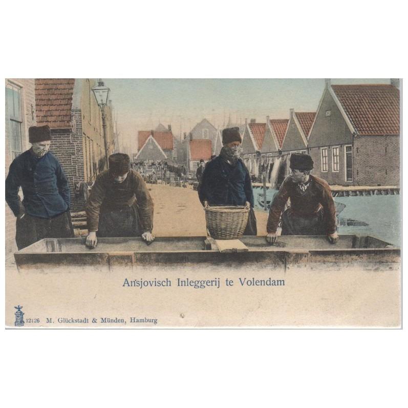 Oude ansichtkaart Volendam Ansjovisch Inleggerij