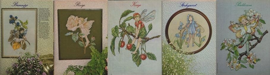 Vijf afbeeldingen flower fairy's uit Ariadne