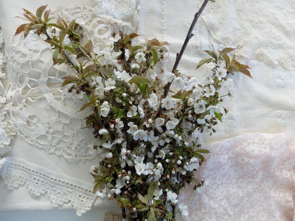 Witte handwerken met bloesem
