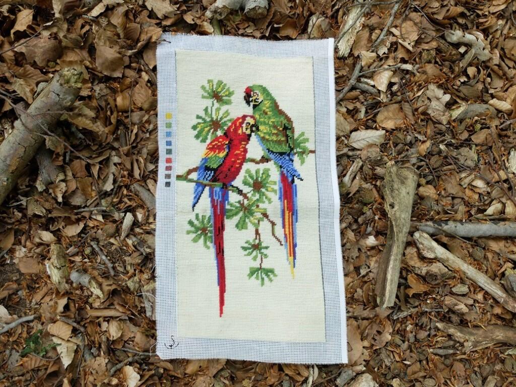 Geborduurde papegaaien