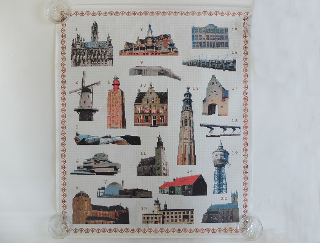 Poster borduurpatronen gebouwen Zeeland