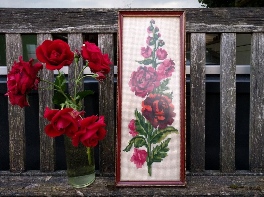 Borduurwerkje rozen