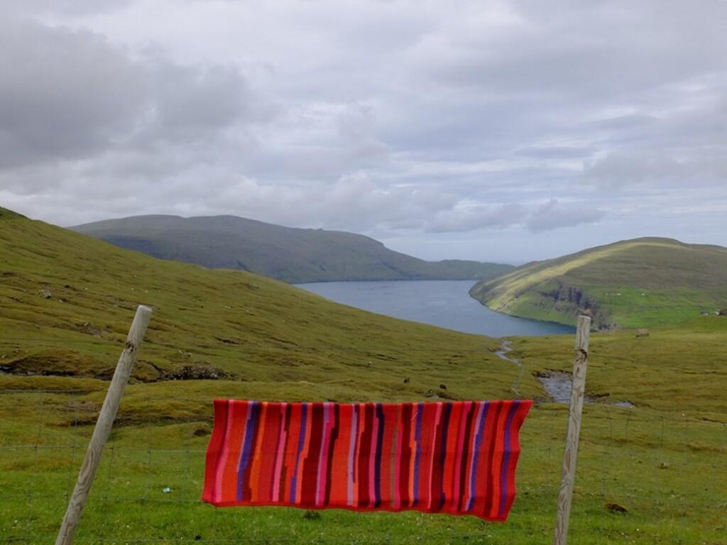Gehaakte omslagdoek op Faroër-Island