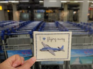 borduurwerkje vliegtuigje