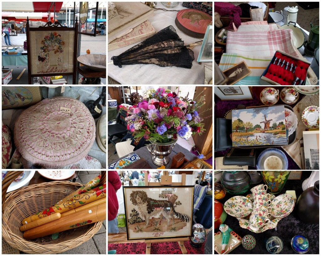 Collage handwerk op antiekmarkt