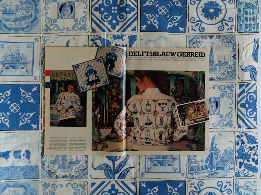 patroon Delfts blauw gebreid