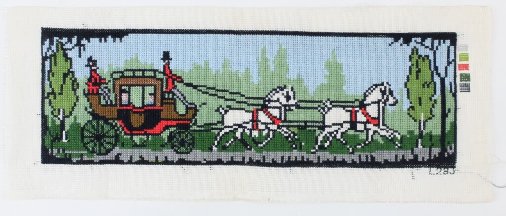 Borduurwerkje onafgewerkt koets met paarden