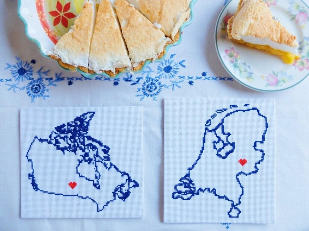 Geborduurde kaart Canada en Nederland