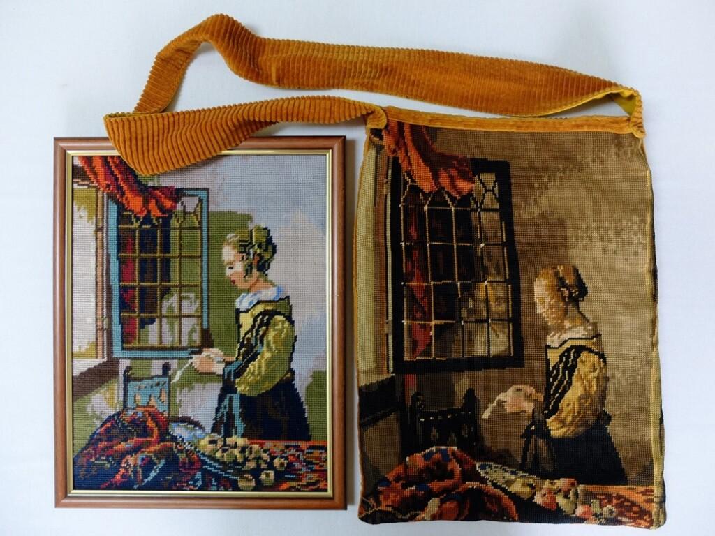 tapisserietas en schilderij brieflezende vrouw