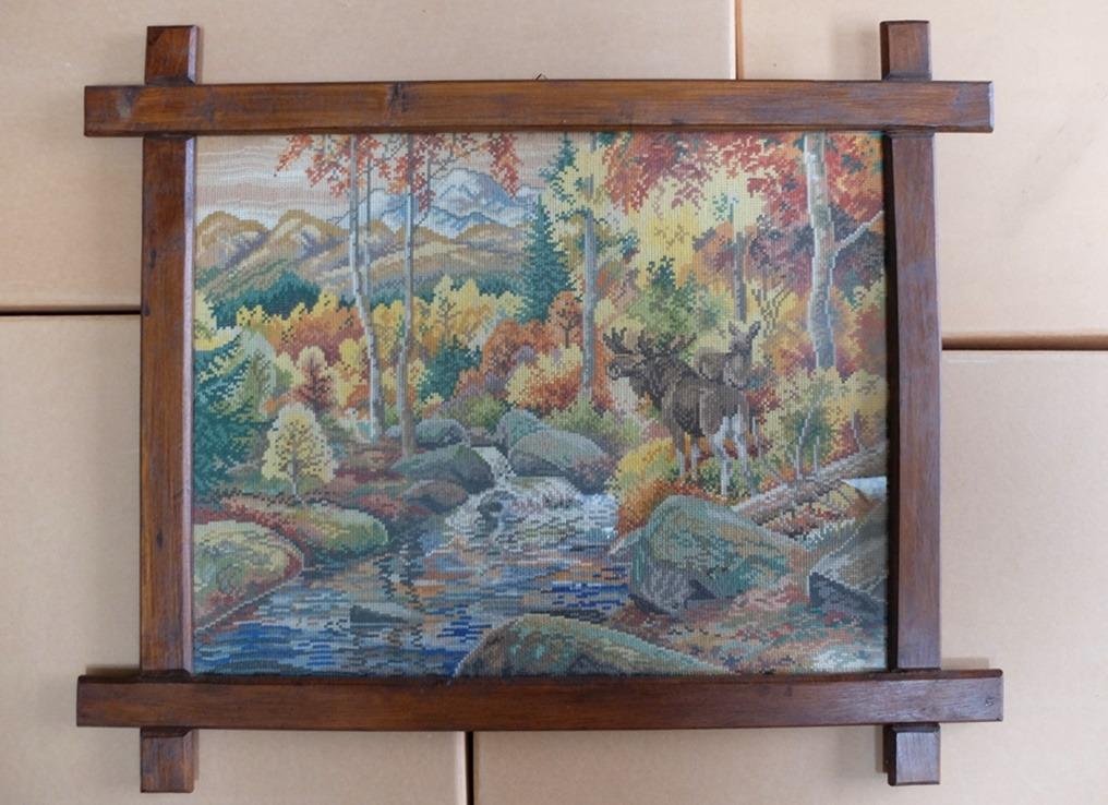 Schilderij geborduurd herfstbos