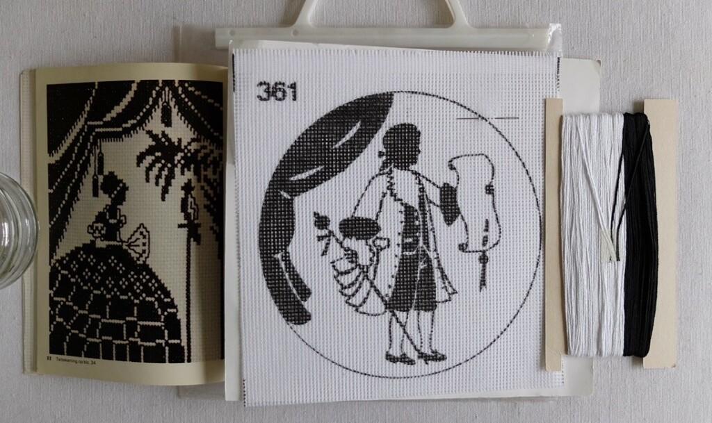Borduurpakketje zwart wit