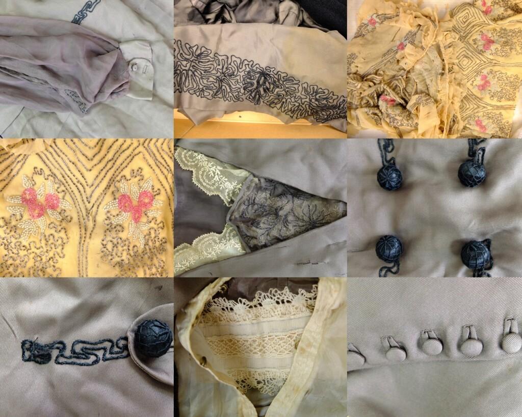 details twee oude jurken