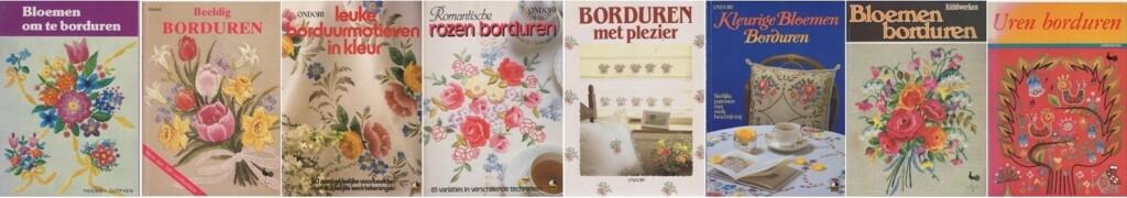 Boekjes bloemen borduren